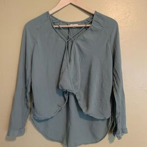 Silence + Noice | Green Cropped Blouse | S